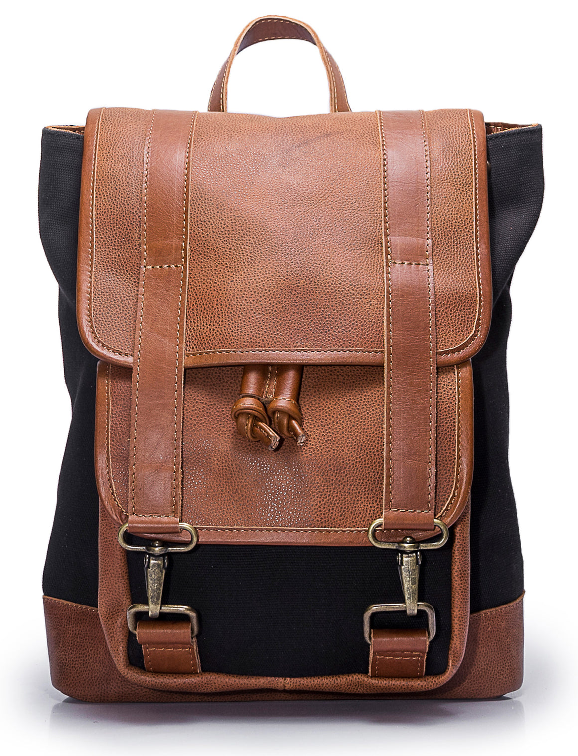 Black Canvas Leather Backpack Handmade