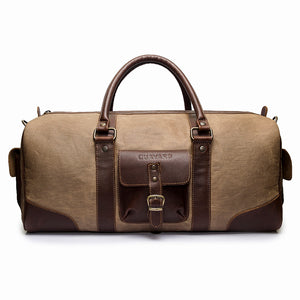 Canvas and Leather duffle | Front View | Falcon Sand Canvas | Quavaro