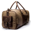 Canvas and Leather duffle | Side View | Falcon Sand Canvas | Quavaro