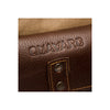 Canvas and Leather duffle | Close up logo View | Falcon Sand Canvas | Quavaro