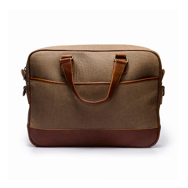 Canvas and leather laptop case | Front View  | Eagle Big Sand canvas | Quavaro
