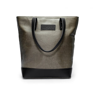Canvas and Leather Tote bag | Front View | Olive canvas and black leather | Voyager | Quavaro