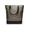 Canvas and Leather Tote bag | Back View | Olive canvas and black leather | Voyager | Quavaro