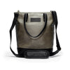 Canvas and Leather Tote bag | Shoulder strap View | Olive canvas and black leather | Voyager | Quavaro