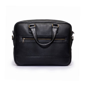 Leather Briefcase | Front view | Eagle big black leather | Quavaro