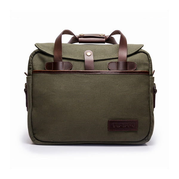 Canvas and Leather Briefcase | Front View | Potomac | Green Canvas and Brown leather | Quavaro