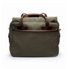 Canvas and Leather Briefcase | Back View | Potomac | Green Canvas and Brown leather | Quavaro
