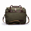 Canvas and Leather Briefcase | Shoulder strap View | Potomac | Green Canvas and Brown leather | Quavaro