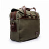 Canvas and Leather Briefcase | Side View | Potomac | Green Canvas and Brown leather | Quavaro
