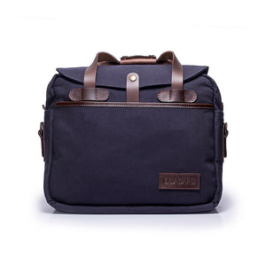 Canvas and Leather Briefcase | Front View | Potomac | Blue Canvas and Brown leather | Quavaro