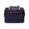 Canvas and Leather Briefcase | Back View | Potomac | Blue Canvas and Brown leather | Quavaro