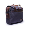 Canvas and Leather Briefcase | Side View | Potomac | Blue Canvas and Brown leather | Quavaro
