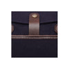 Canvas and Leather Briefcase | Close up button View | Potomac | Blue Canvas and Brown leather | Quavaro