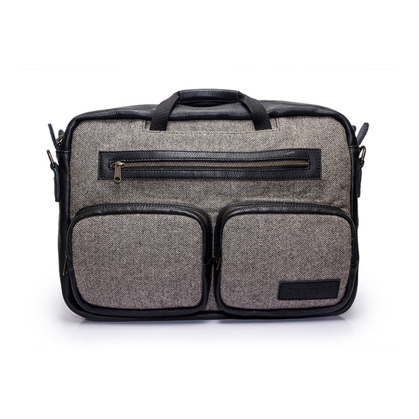 Canvas and leather convertible laptop bag | Front View  | DCA grey herringbone with pockets | Quavaro