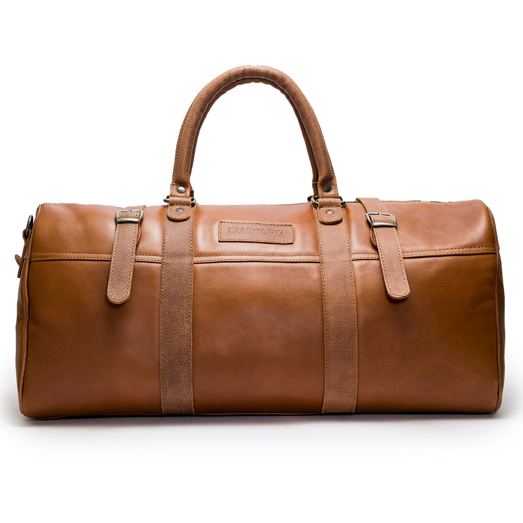 Leather Weekender | Front View | Pelican | Caramel leatherr | Quavaro