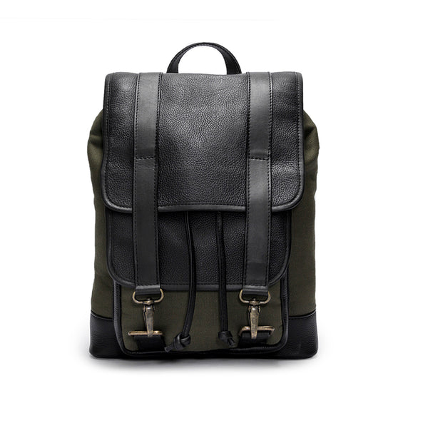 Canvas and leather backpack | Front View | The Tomcat Green Canvas | Quavaro