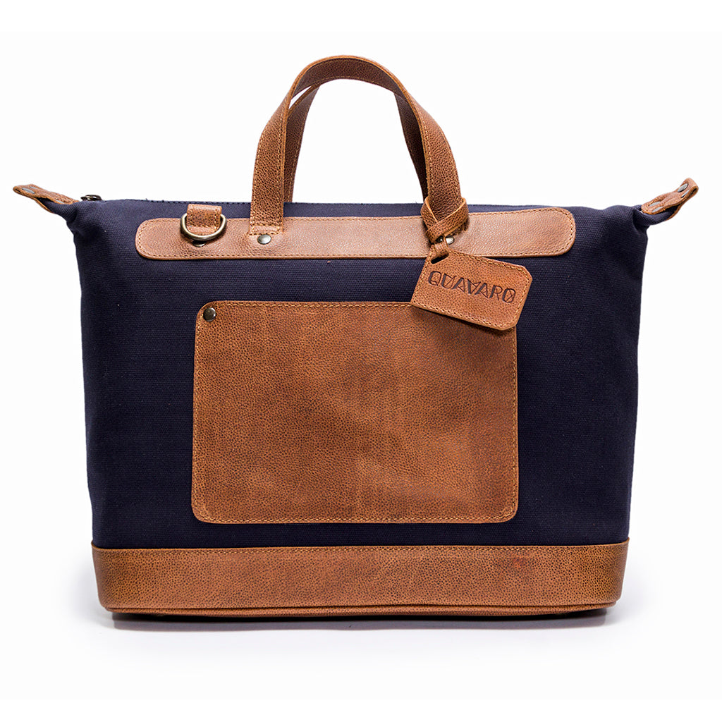 Canvas and Leather Weekender | Front View | Goose | Blue canvas and pebbled brown leatherr | Quavaro