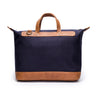 Canvas and Leather Weekender | Back View | Goose | Blue canvas and pebbled brown leatherr | Quavaro