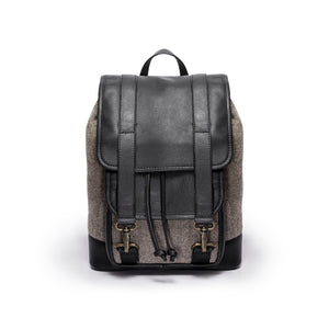 Tomcat- Grey herringbone and black leather - Quavaro