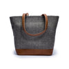 Canvas and leather tote bag | Back View | Electra Grey Herringbone | Quavaro