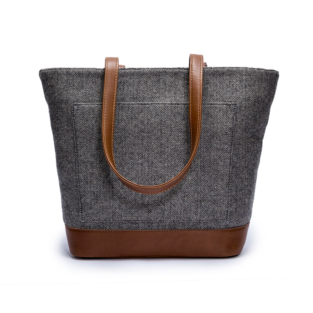 Canvas and leather tote bag | Front View | Electra Grey Herringbone | Quavaro
