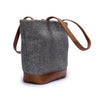 Canvas and leather tote bag | Side View | Electra Grey Herringbone | Quavaro
