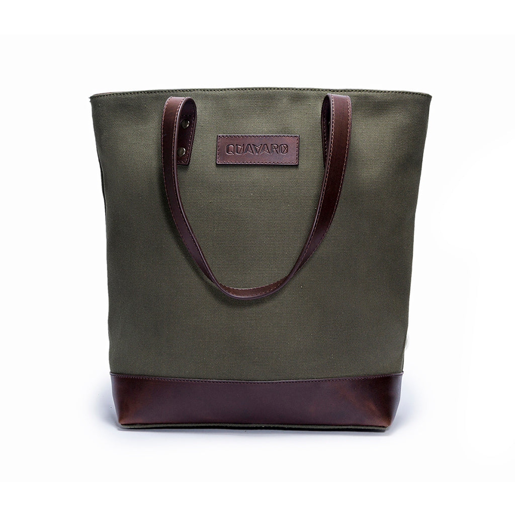 Canvas and leather tote bag | Front View | Green Canvas and brown leather | Voyager | Quavaro