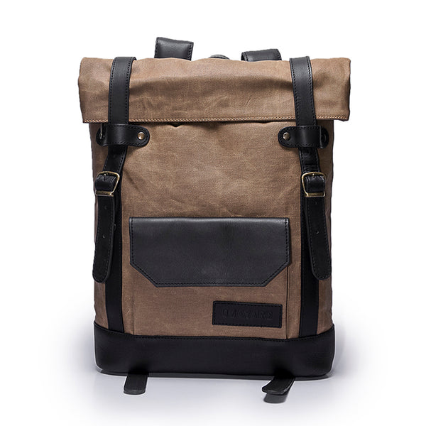 Canvas and Leather Backpack | Front View | Hawk | Sand waxed canvas and black leather | Quavaro