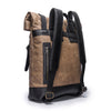 Canvas and Leather Backpack | Side View | Hawk | Sand waxed canvas and black leather | Quavaro