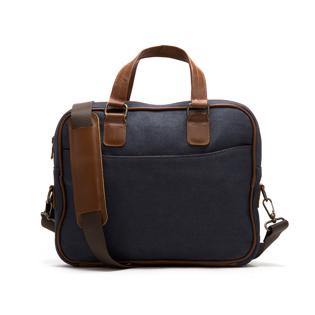 Canvas and leather laptop case | Front View with Strap | The Eagle Blue | Quavaro