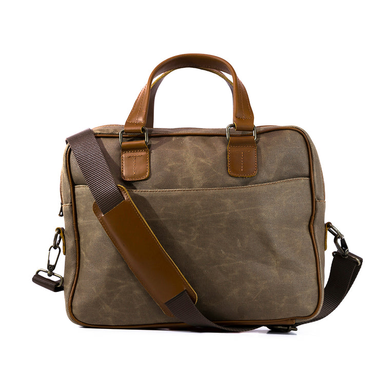 Canvas and leather laptop case | Front View with strap  | The Eagle Olive Green | Quavaro