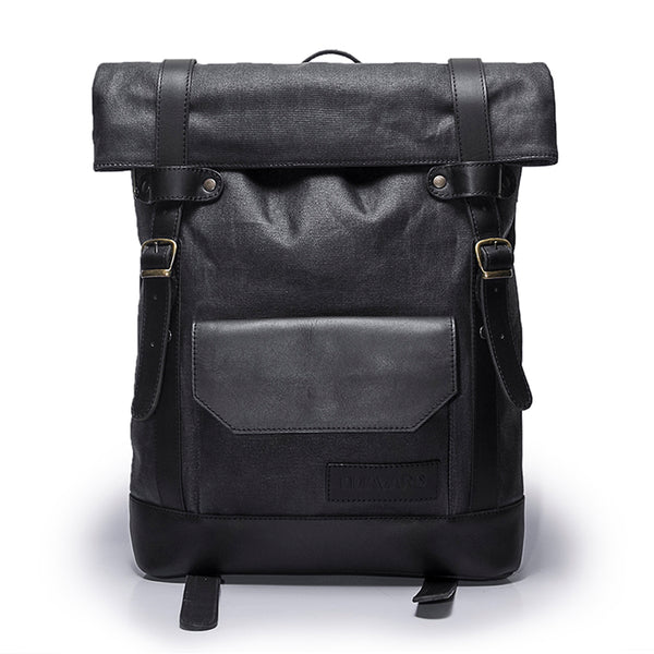 Canvas and Leather Backpack | Front View | Hawk | Midnight blue waxed canvas and black leatherr | Quavaro