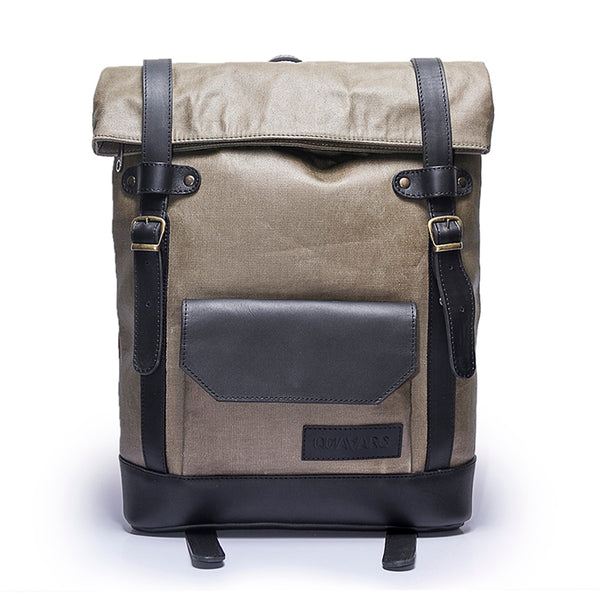 Canvas and Leather Backpack | Front View | Hawk | Olive waxed canvas and black leatherr | Quavaro