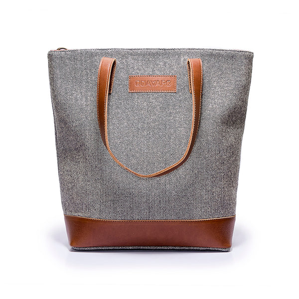 Canvas and Leather tote | Front View | Grey Herringbone and leather | Voyager | Quavaro