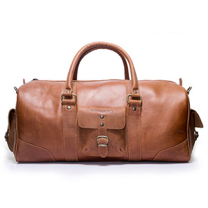 Leather duffle bag | Front View | Falcon Caramel leather | Quavaro