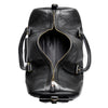 Leather duffle bag | Interior View | Falcon all black pebbled leather | Quavaro