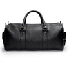 Leather duffle bag | Back View | Falcon all black pebbled leather | Quavaro