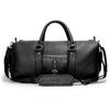 Leather duffle bag | Shoulder strap View | Falcon all black pebbled leather | Quavaro