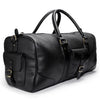 Leather duffle bag | Side View | Falcon all black pebbled leather | Quavaro