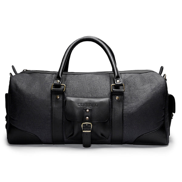 Canvas and Leather Weekender | Front View | Falcon | Midnight blue canvas and black leatherr | Quavaro