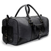 Canvas and Leather Weekender | Side View | Falcon | Midnight blue canvas and black leatherr | Quavaro