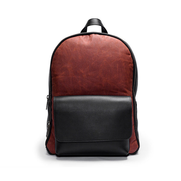 Canvas and Leather Backpack | Front View | Phoenix | Rust waxed canvas and black leather | Quavaro