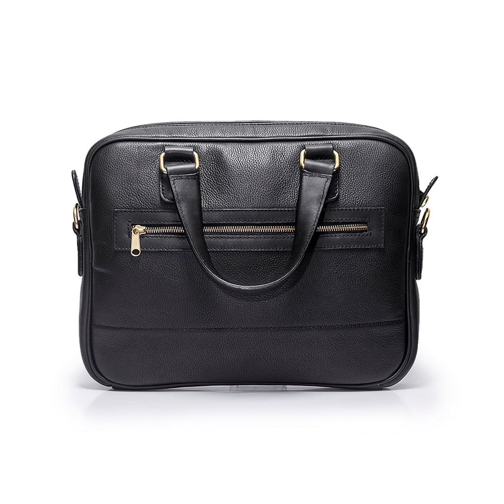 Leather briefcase | Front view | Eagle all black leather | Quavaro