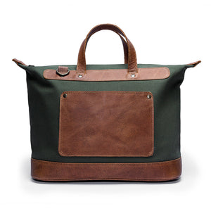 Canvas and Leather Weekender | Front View | Goose | Green canvas and leather | Quavaro