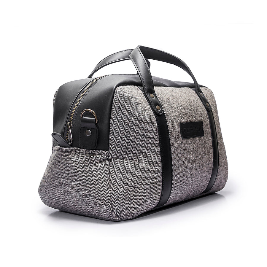 Canvas and Leather Weekender | Front View | Albatross | Grey herringbone and black leather | Quavaro
