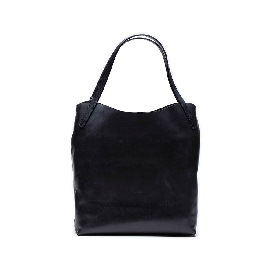 Leather tote bag | Front and pouch View | Washingtonian Black | Quavaro
