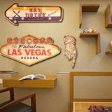 Las Vegas Metal Painted Sign with lights