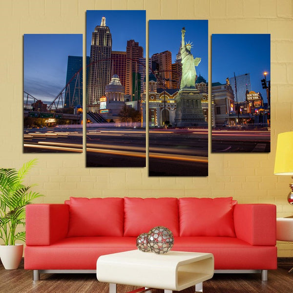 Las Vegas Night Canvas 4 Panels FRAMED