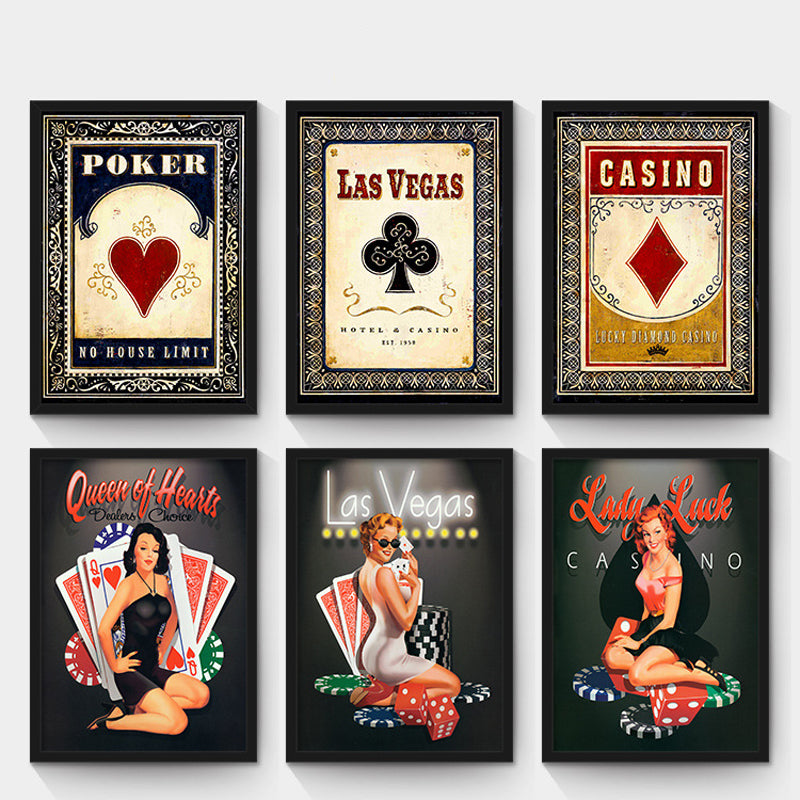 Oubei Art Personality Retro Painting Poker & Lucky Lady Canvas FRAMED