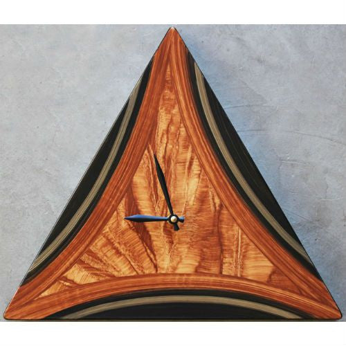 Triangle Clock Wood Face